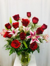 Assorted Colored Roses and Lilies
